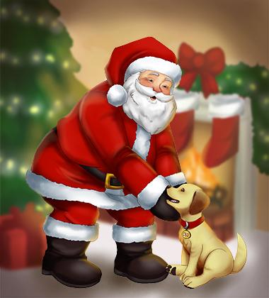 Santa bringing a new collar for Christmas